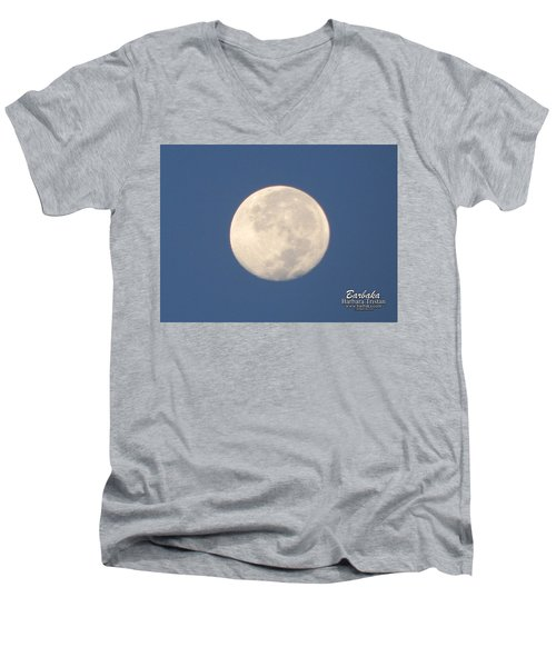 Men's V-Neck T-Shirt featuring the photograph Morning Moon by Barbara Tristan