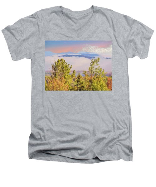 Morning Mountain View Northern New Hampshire. Men's V-Neck T-Shirt