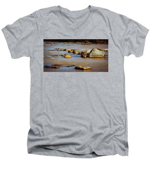 Morning On The Rocky River Men's V-Neck T-Shirt