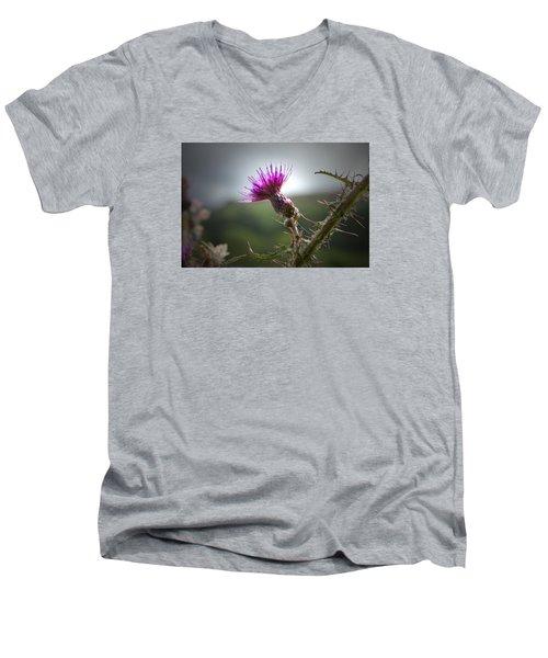 Morning Purple Thistle. Men's V-Neck T-Shirt by Terence Davis