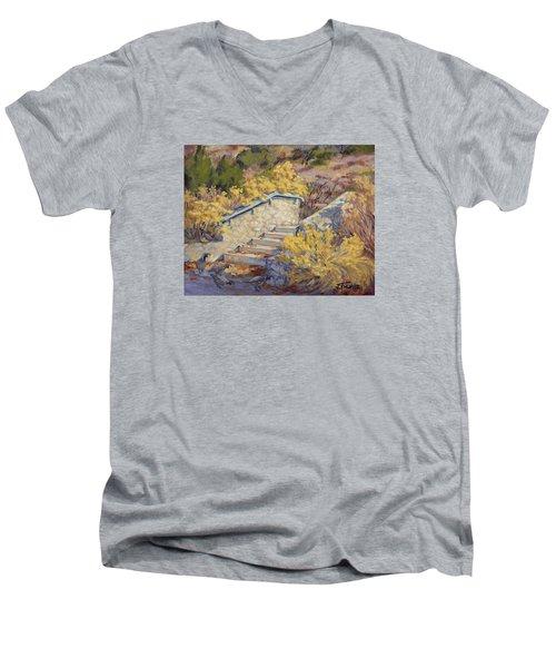 Morning Quail  Men's V-Neck T-Shirt by Jane Thorpe