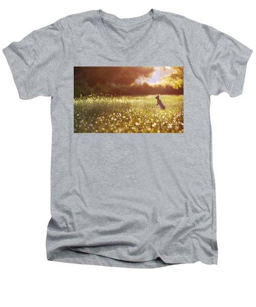 Morning Rabbit Men's V-Neck T-Shirt by Rima Biswas