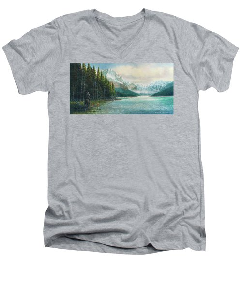 Morning Ride Men's V-Neck T-Shirt by Douglas Castleman