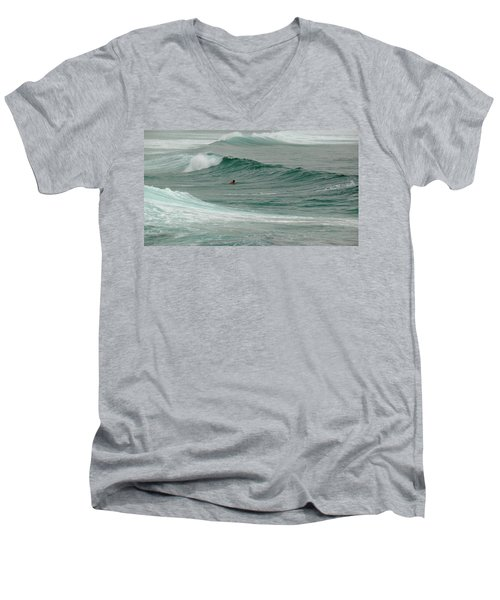 Morning Ride Men's V-Neck T-Shirt by Evelyn Tambour