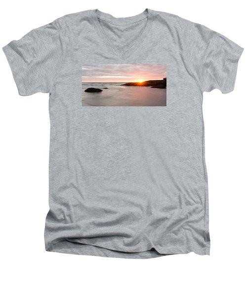 Morning Sun Good Harbor Men's V-Neck T-Shirt by Michael Hubley