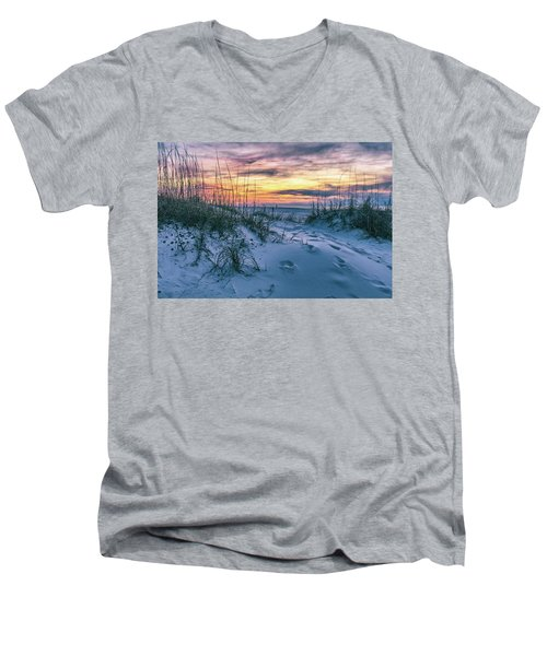 Men's V-Neck T-Shirt featuring the photograph Morning Sunrise At The Beach by John McGraw