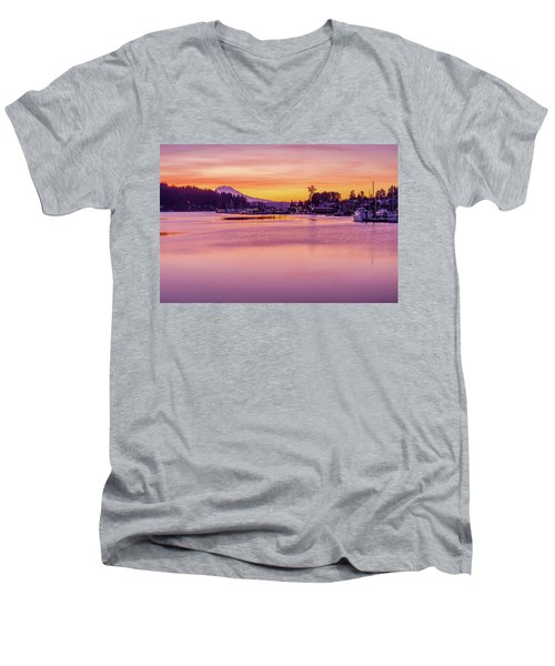 Morning Sunrise In Gig Harbor Men's V-Neck T-Shirt by Ken Stanback