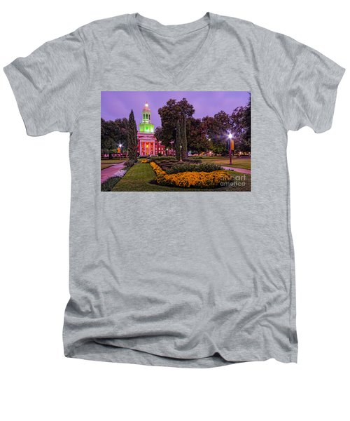 Morning Twilight Shot Of Pat Neff Hall From Founders Mall At Baylor University - Waco Central Texas Men's V-Neck T-Shirt