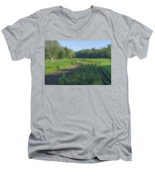 Morning Walk At Langwater Farm Men's V-Neck T-Shirt