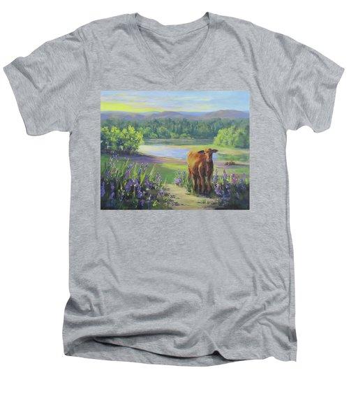 Morning Walk Men's V-Neck T-Shirt by Karen Ilari