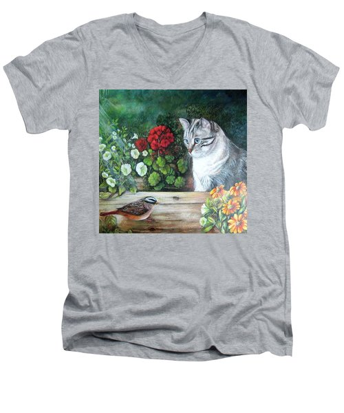 Men's V-Neck T-Shirt featuring the painting Morningsurprise by Patricia Schneider Mitchell