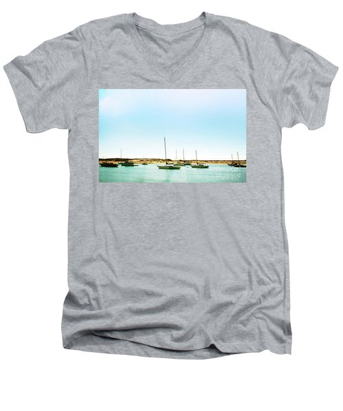 Moro Bay Inlet With Sailboats Mooring In Summer Men's V-Neck T-Shirt
