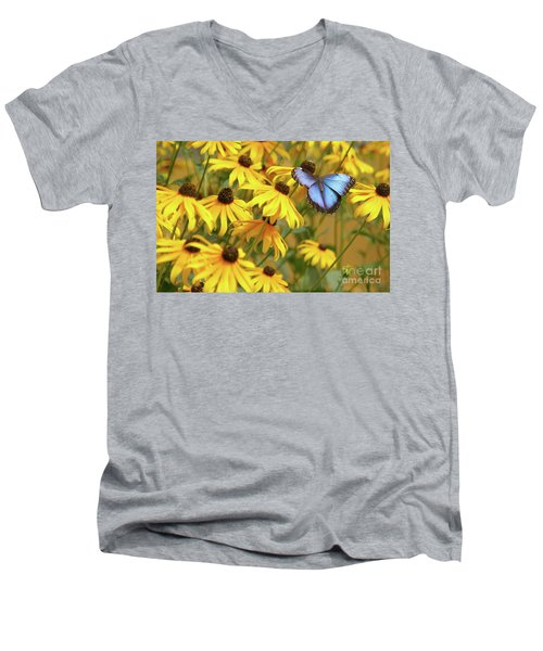 Morpho Butterfly Men's V-Neck T-Shirt