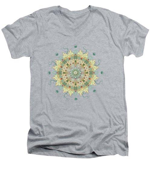 Men's V-Neck T-Shirt featuring the digital art Morris Artful Garden Mandala by Deborah Smith