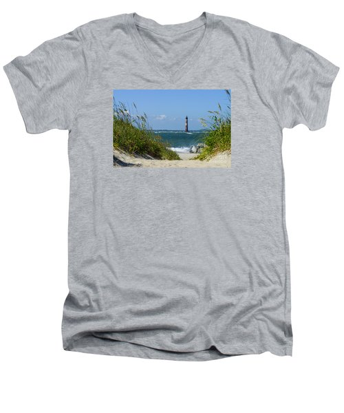 Morris Island Lighthouse Walkway Men's V-Neck T-Shirt