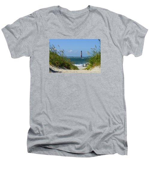 Morris Island Lighthouse Walkway Men's V-Neck T-Shirt