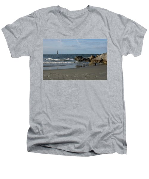 Men's V-Neck T-Shirt featuring the photograph Morris Lighthouse by Sandy Keeton