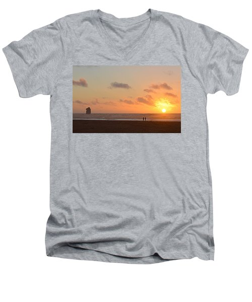 Men's V-Neck T-Shirt featuring the photograph Morro Sunset by AJ Schibig
