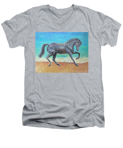 Men's V-Neck T-Shirt featuring the painting Mosaic by Elizabeth Lock