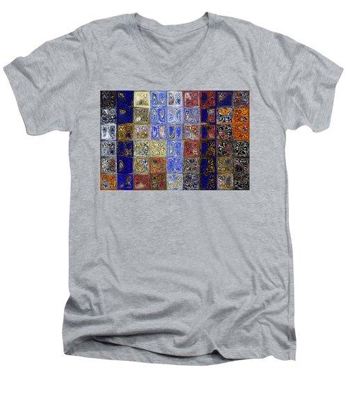 Mosaic Tile Evening Landscape. Modern Mosaic Tile Art Painting Men's V-Neck T-Shirt