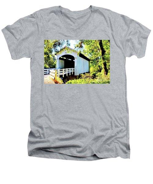 Mosbey Creek Stewart Covered Bridge Men's V-Neck T-Shirt by Ansel Price