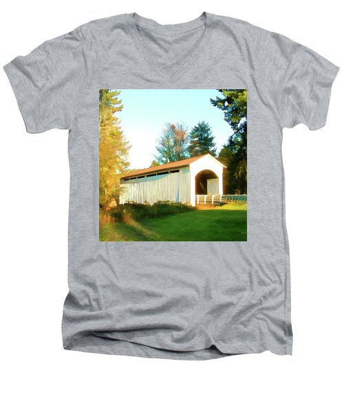 Mosby Creek Covered Bridge Men's V-Neck T-Shirt by Wendy McKennon