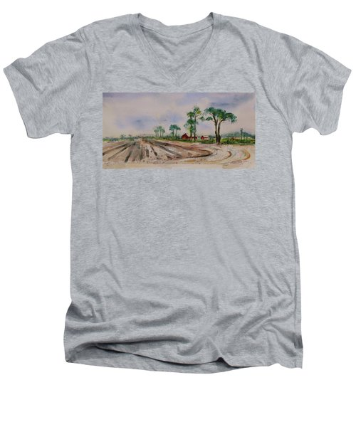 Men's V-Neck T-Shirt featuring the painting Moss Landing Pine Trees Farm California Landscape 1 by Xueling Zou