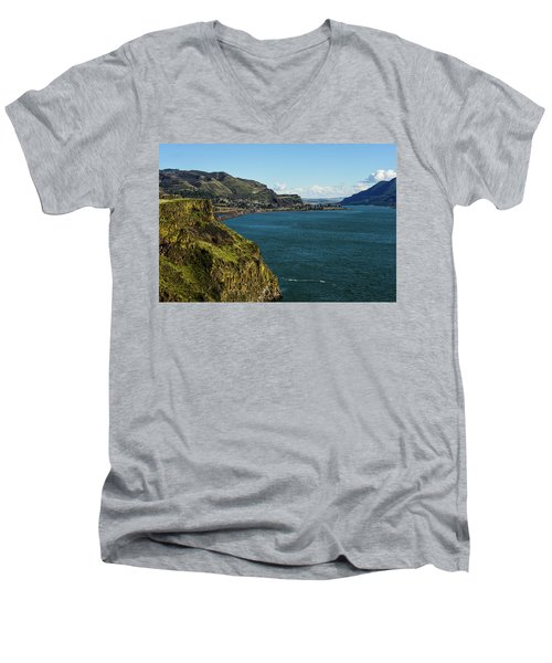 Mossy Cliffs On The Columbia Men's V-Neck T-Shirt
