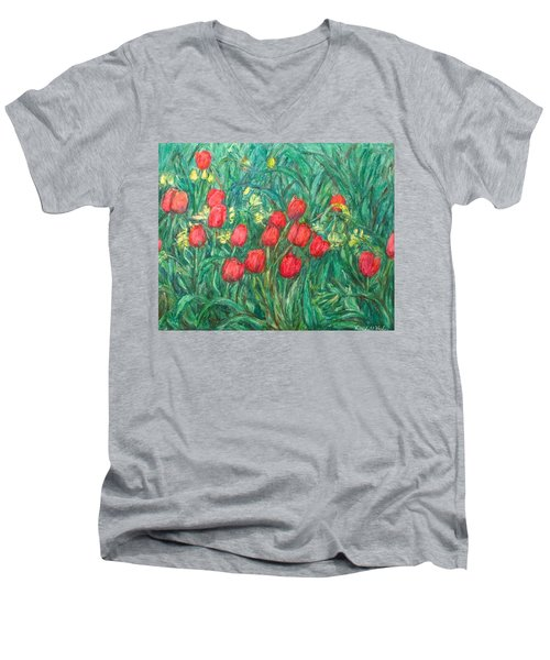 Men's V-Neck T-Shirt featuring the painting Mostly Tulips by Kendall Kessler