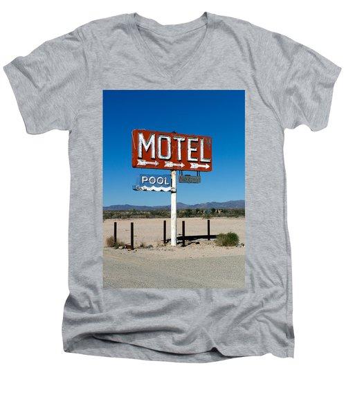 Motel Sign On I-40 And Old Route 66 Men's V-Neck T-Shirt
