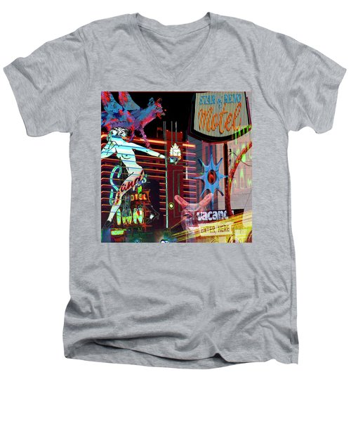 Motel Variations Night Of The Flyng Coyote Men's V-Neck T-Shirt by Ann Tracy