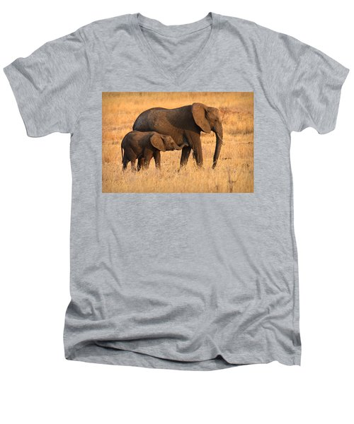 Mother And Baby Elephants Men's V-Neck T-Shirt