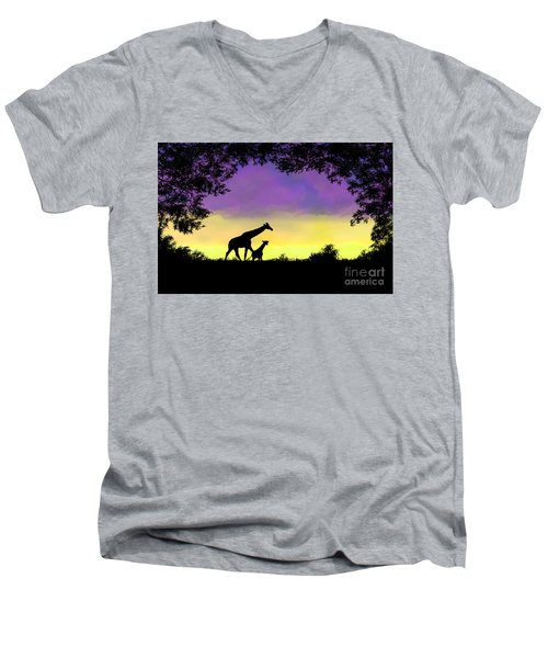 Mother And Baby Giraffe At Sunset Men's V-Neck T-Shirt