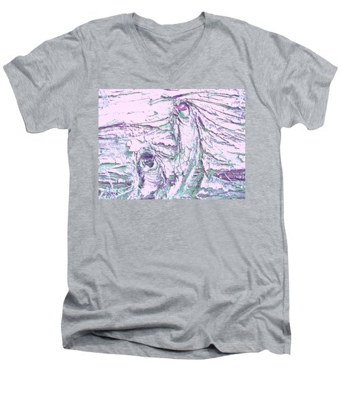 Mother And Daughter Against The Wind Men's V-Neck T-Shirt by Karl Reid