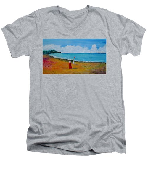 Men's V-Neck T-Shirt featuring the painting Mother And Daughter by Marilyn  McNish