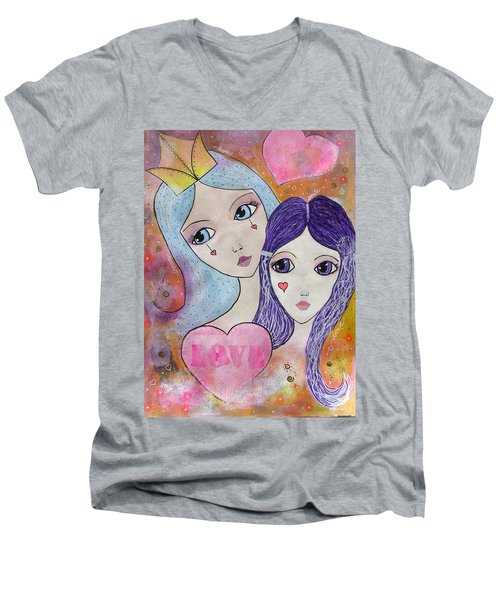 Mother And Daughter Men's V-Neck T-Shirt