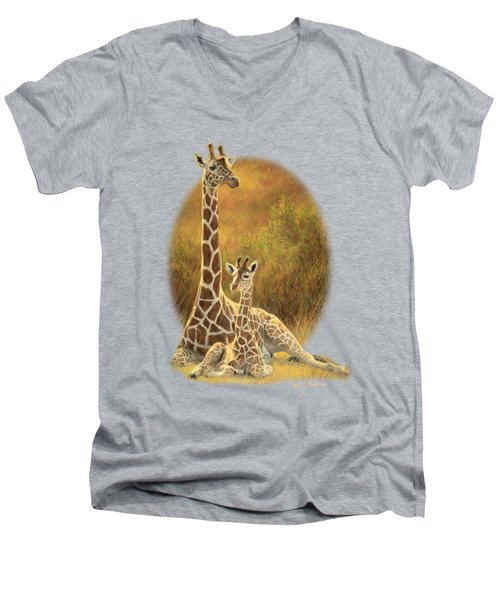 Mother And Son Men's V-Neck T-Shirt by Lucie Bilodeau