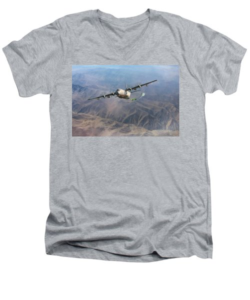 Men's V-Neck T-Shirt featuring the digital art Mother Do You Think They Will Drop The Bomb by Peter Chilelli
