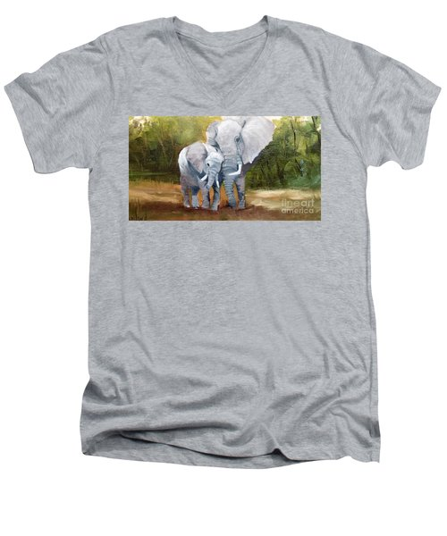 Mother Love Elephants Men's V-Neck T-Shirt