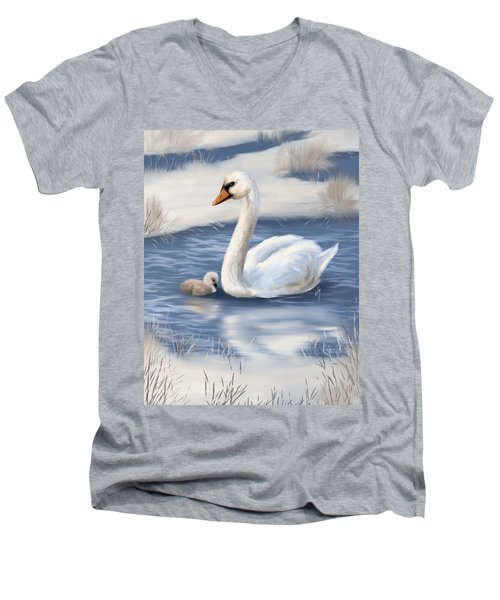 Men's V-Neck T-Shirt featuring the painting Mother Love by Veronica Minozzi