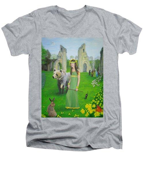 Mother Of Fire Goddess Artha - Spring Equinox Men's V-Neck T-Shirt