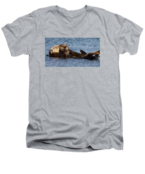 Men's V-Neck T-Shirt featuring the photograph Mother Sea Otter Cuddling Baby by Max Allen