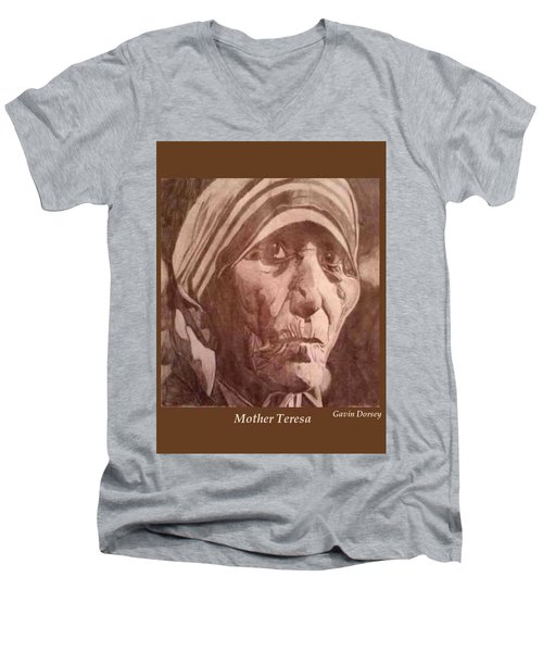 Men's V-Neck T-Shirt featuring the drawing Mother Teresa  by Gavin Dorsey