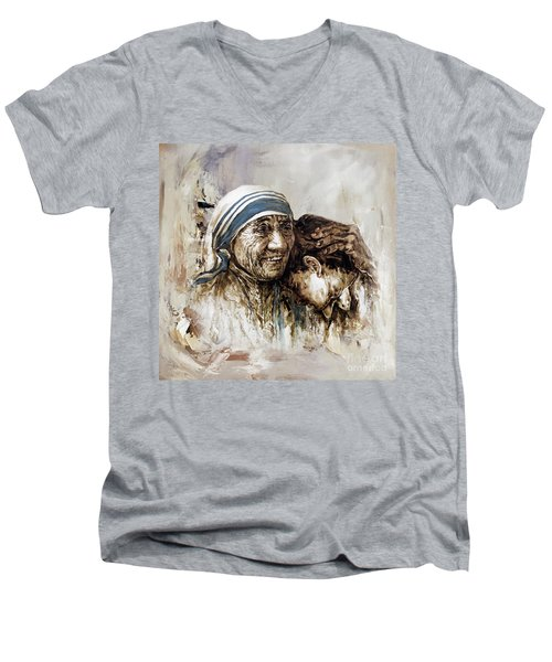 Men's V-Neck T-Shirt featuring the painting Mother Teresa  by Gull G