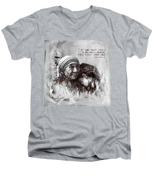 Men's V-Neck T-Shirt featuring the painting Mother Teresa Of Calcutta Portrait  by Gull G