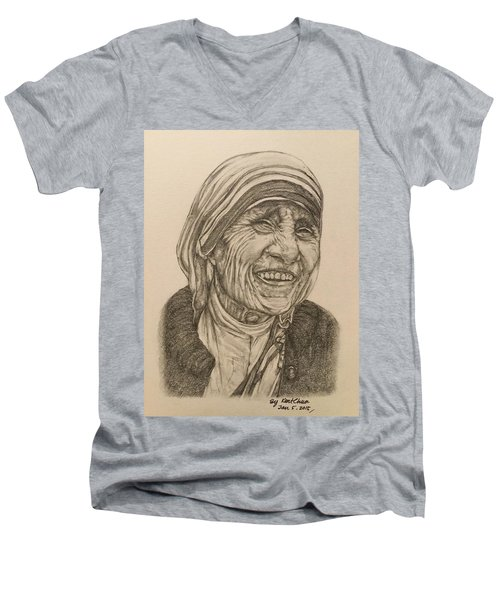 Mother Theresa Kindness Men's V-Neck T-Shirt by Kent Chua