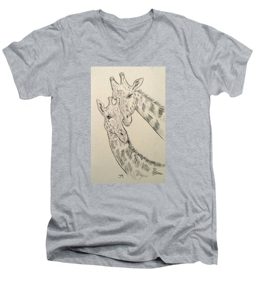 Men's V-Neck T-Shirt featuring the drawing Motherly Knudge by Jennifer Hotai