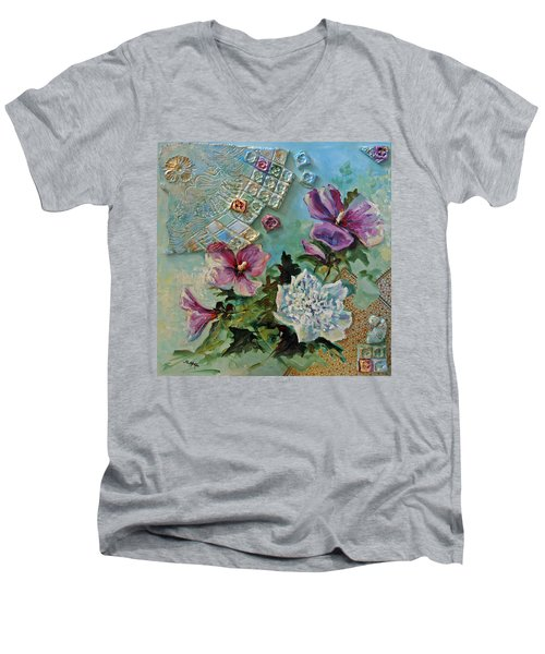 Men's V-Neck T-Shirt featuring the painting Mothers Althea by Suzanne McKee