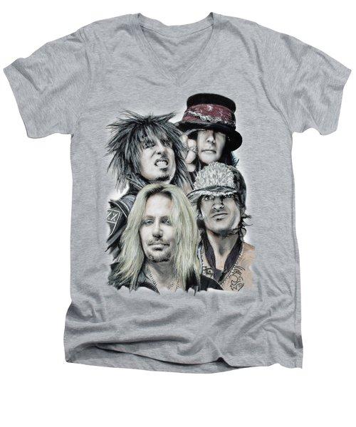 Motley Crue Men's V-Neck T-Shirt by Melanie D