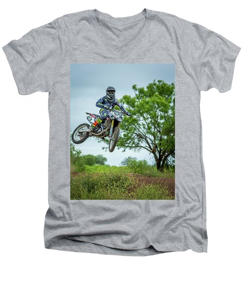 Men's V-Neck T-Shirt featuring the photograph Motocross Aerial by David Morefield
